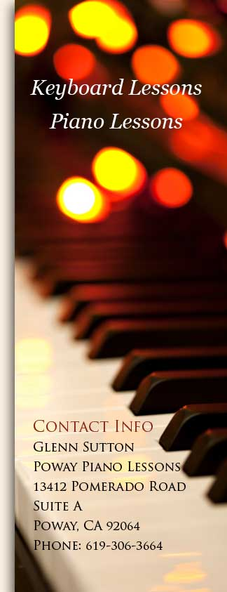 Piano and Keyboard lessons from Glenn Sutton in Poway and San Diego